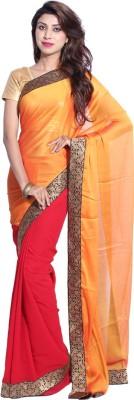 Hanis Solid Fashion Handloom Silk, Chiffon Sari