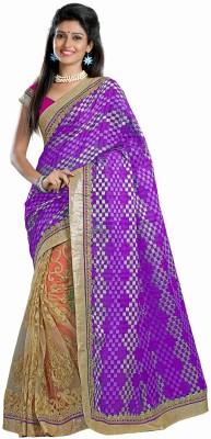 Firstloot Checkered Fashion Net Sari