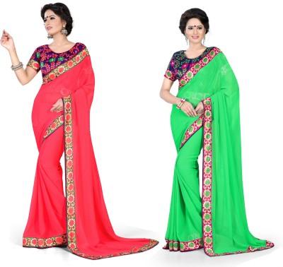 Indianbeauty Solid, Printed Fashion Chiffon Sari