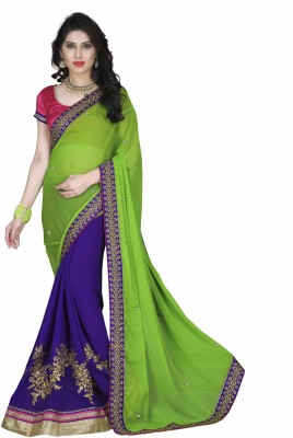 Shoppershopee Embriodered Tanchoi Georgette Sari