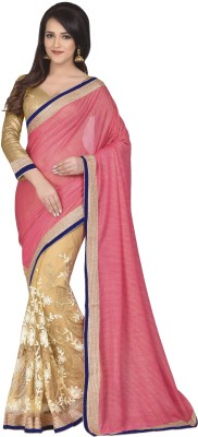 Oomph! Embroidered Bollywood Net Sari(Pink)