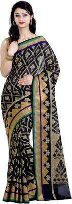 Chandrakala Woven Banarasi Silk Cotton Blend Saree(Black) at flipkart