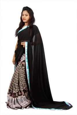Creativz Hand Printed, Embriodered Fashion Synthetic Sari