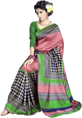 Sunaina Printed Art Silk Saree(Multicolor) at flipkart