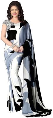 Saara Printed, Digital Prints Daily Wear Crepe Saree(Black, White) at flipkart