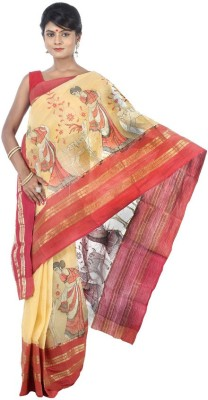 AVIK Self Design, Animal Print Tant Handloom Cotton Sari