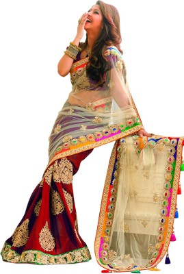 Aanaya Fashions Embellished, Embriodered, Solid Fashion Chiffon, Net Sari