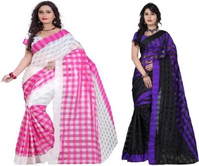 FabPandora Plain Fashion Silk Cotton Blend Sari