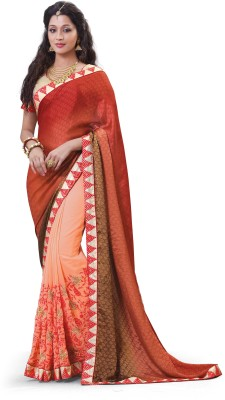 Laajjo Embriodered Fashion Jacquard, Georgette Sari