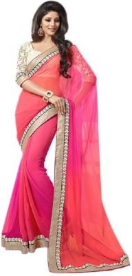 EgalEyes Plain Fashion Georgette Sari