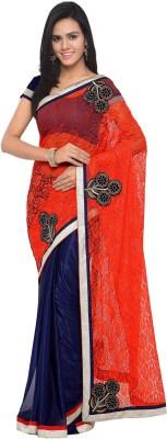 satya sita Embellished Fashion Kota Cotton Saree(Orange, Blue)