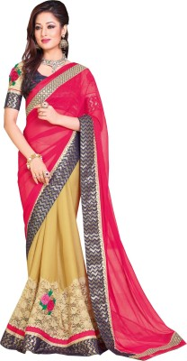 Queenbee Embellished, Embriodered, Self Design Fashion Chiffon, Georgette Sari