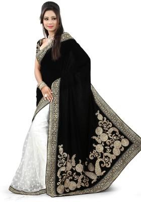 Snreks Collection Embriodered Fashion Velvet, Net Sari