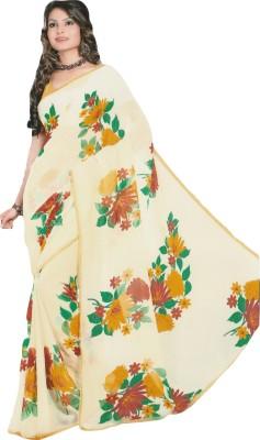 Mananstha Fashions Printed, Floral Print, Embellished Fashion Chiffon Sari