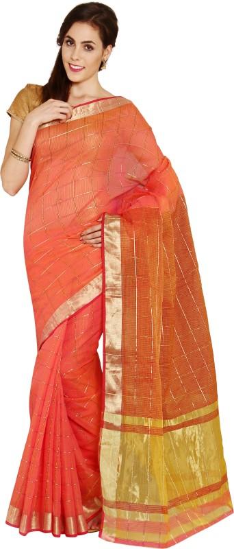 Aryahi Solid Fashion Art Silk Saree(Orange)