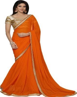 Aastha Textile Embriodered Bollywood Handloom Chiffon Sari