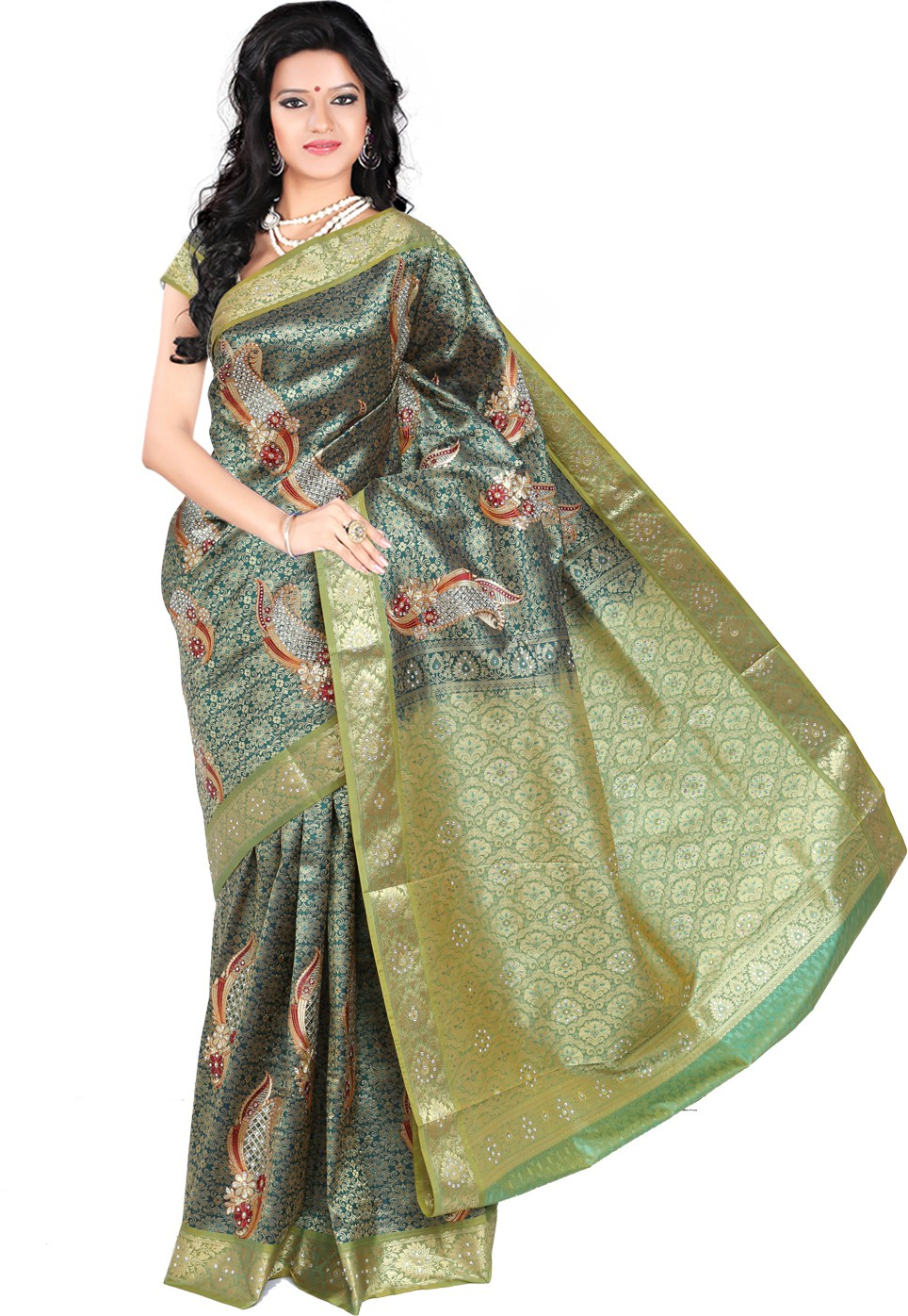 Roopkala Silks Embellished Dharmavaram Brocade Saree(Dark Green)