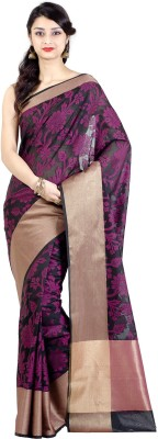 Chandrakala Woven Banarasi Silk Cotton Blend Saree(Black) at flipkart