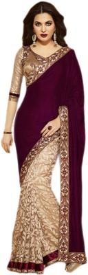 s n print Embellished Chanderi Velvet, Brasso Fabric Sari