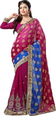 Blissta Embriodered Fashion Georgette, Brasso Sari