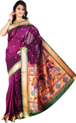 M.S.Retail Paisley Paithani Silk Saree(Beige) at flipkart