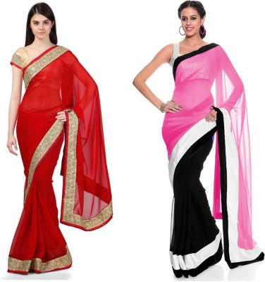 ds Solid Fashion Georgette, Net Sari