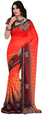 Happyshop Printed Bollywood Chiffon Sari