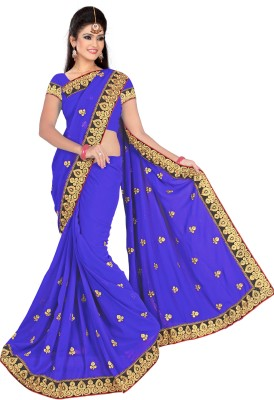 Alliance Fashion Self Design Fashion Chiffon Sari