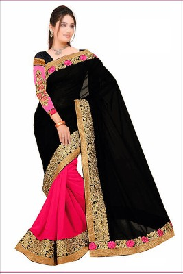 Reya Embroidered Fashion Georgette Saree(Black) at flipkart