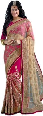 M.S.Retail Embriodered Fashion Handloom Net, Chiffon Sari at flipkart