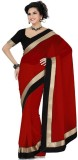 JDX Solid Bollywood Georgette Saree (Red...