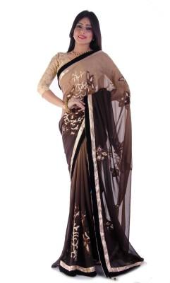 La Belleza Boutique Woven, Floral Print Fashion Georgette Sari