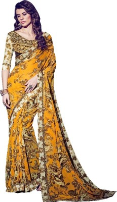 KAAMIRI Floral Print Fashion Georgette Sari