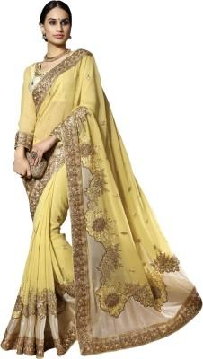 Triveni Printed Fashion Chiffon Saree(Yellow) at flipkart