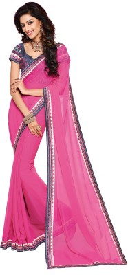 Palav Fabrics Embellished, Embriodered, Solid Fashion Chiffon Sari