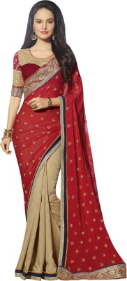 Triveni Self Design Fashion Georgette Saree(Beige) at flipkart