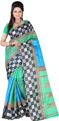 Shreet fashion Checkered, Solid Bhagalpuri Art Silk Sari
