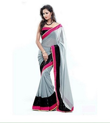 Shree Fashion Hub Saree Self Design Fashion Handloom Georgette Sari