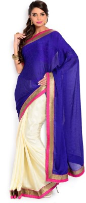 Velli Solid Fashion Georgette Sari