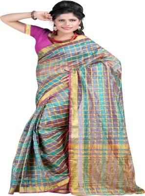 Ansu Fashion Checkered Mysore Polycotton Saree(Magenta) at flipkart