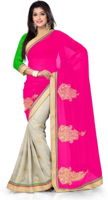 Vaamsi Self Design, Solid Daily Wear Georgette Saree(Pink) at flipkart