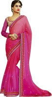 Indian E Fashion Embroidered, Self Design Fashion Georgette Sari(Pink)