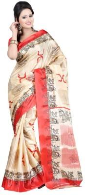King Villa Animal Print, Self Design, Graphic Print, Floral Print Assam Silk Art Silk Sari