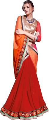 Parisha Embroidered Daily Wear Chiffon, Georgette Sari(Orange, Red) at flipkart