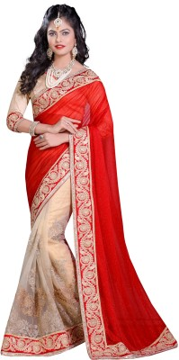 nimi fashion Embriodered, Self Design, Plain Fashion Handloom Net, Synthetic Georgette Sari
