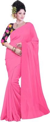 Dlines Plain Fashion Georgette Sari