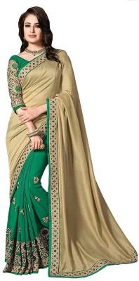 Queenbee Embellished, Embriodered, Self Design Fashion Georgette Sari