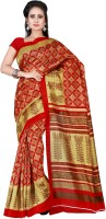 Shonaya Printed Bhagalpuri Art Silk Saree(Red, Beige)