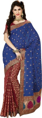 Aakriti Woven, Self Design, Printed Banarasi Handloom Brocade Sari