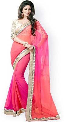 Om7 Self Design Fashion Handloom Pure Georgette, Silk Sari